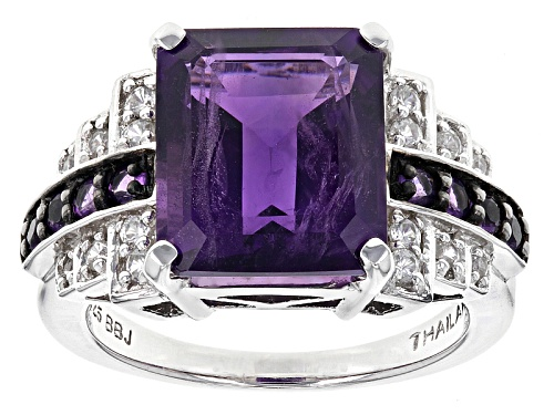Photo of 5.16ctw Emerald Cut And Round Zambian Amethyst With .30ctw White Zircon Sterling Silver Ring - Size 5