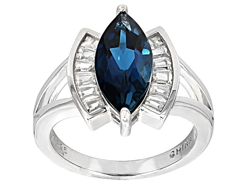 Photo of 3.15ct Marquise London Blue Topaz With .89ctw Tapered Baguette White Zircon Sterling Silver Ring - Size 10