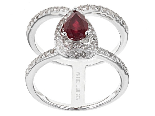 Photo of .68ct Pear Shape Mahaleo® Ruby With .71ctw Round White Zircon Sterling Silver Ring - Size 7