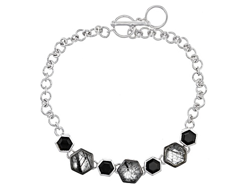 Photo of 3.20ctw Hexagonal Tourmalinated Quartz And 1.40ctw Hexagonal Black Onyx Sterling Silver Bracelet - Size 7.25