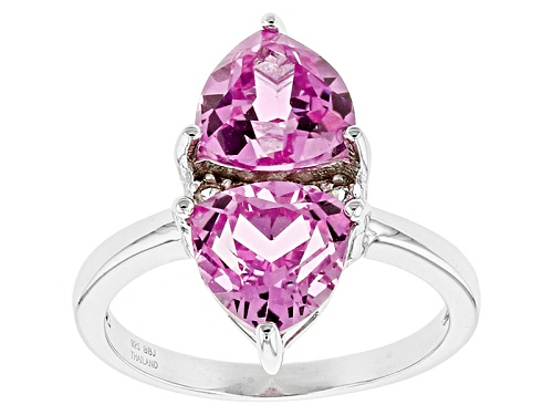 Photo of 3.82ctw Trillion Lab Created Pink Sapphire And .25ctw Lab Created White Sapphire Silver 2-Stone Ring - Size 11