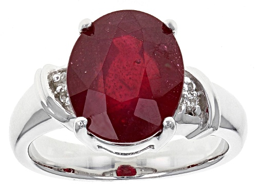 Photo of 6.07ct Oval Mahaleo® Ruby With .04ctw Round White Topaz Sterling Silver Ring - Size 8