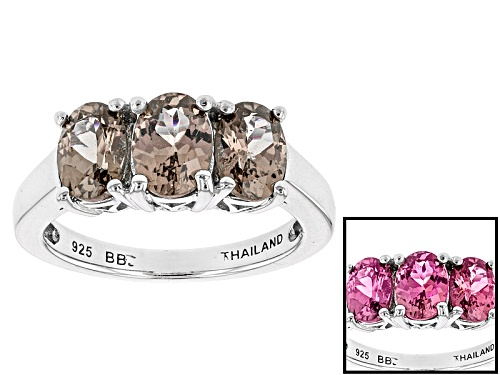 Photo of 1.95ctw Oval Color Shift Garnet Sterling Silver 3-Stone Ring - Size 12