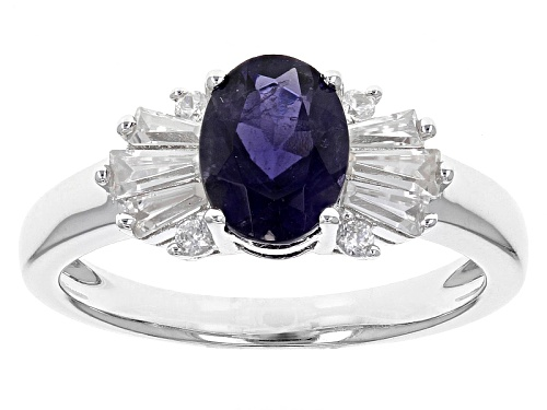 Photo of .90ct Oval Iolite With .53ctw Round And Tapered Baguette White Zircon Sterling Silver Ring - Size 10