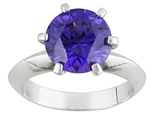 Photo of 4.59ct Round Lab Created Purple Yag Solitaire Sterling Silver Ring - Size 9