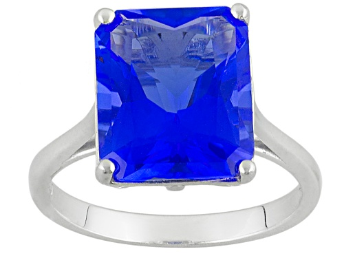 Photo of 3.82ct Radiant Cut Lab Created Blue Yag Solitaire Sterling Silver Ring - Size 9