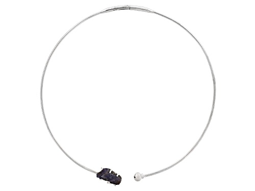 Photo of Free Form Tanzanite Rough Sterling Silver Necklace - Size 18