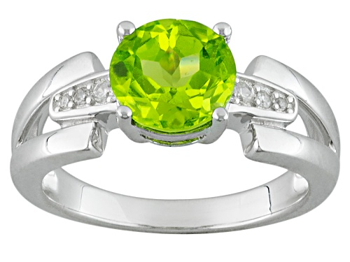 Photo of 1.99ct Round Manchurian Peridot™ With .09ctw White Zircon Sterling Silver Ring - Size 12