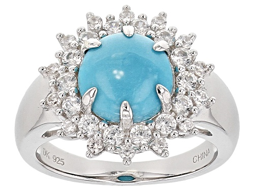 Photo of 9mm Cabochon Round Sleeping Beauty Turquoise And .83ctw Round White Zircon Sterling Silver Ring - Size 12