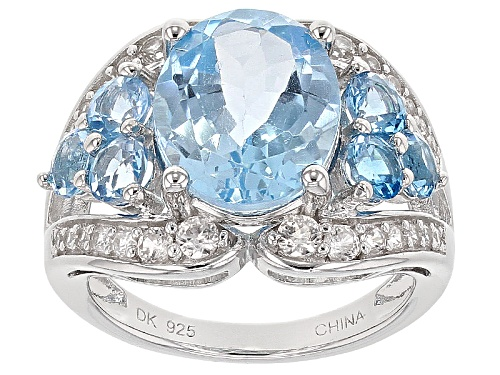 Photo of 5.50ct Oval Glacier™ And 1.53ct Round Swiss Blue Topaz With .59ctw White Zircon Silver Ring - Size 6
