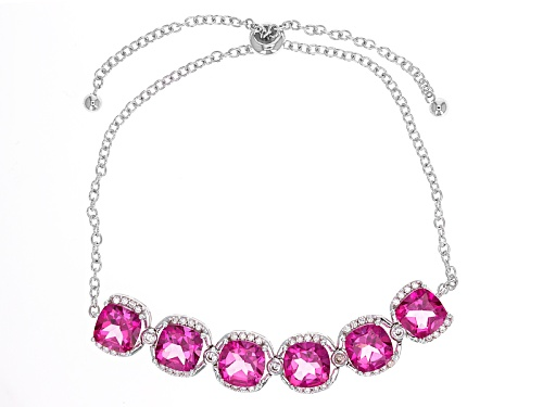 Photo of 8.80ctw Square Cushion Pink Topaz With .66ctw Round White Zircon Silver Sliding Adjustable Bracelet - Size 7.25