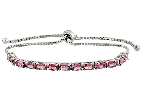 Photo of 2.99ctw Oval Pink Tourmaline Sterling Silver Sliding Adjustable Bracelet - Size 7.25