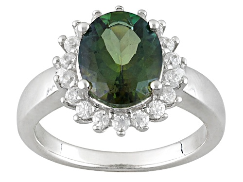 Photo of 1.95ct Oval Green Labradorite With .52ctw Round White Zircon Sterling Silver Ring - Size 11