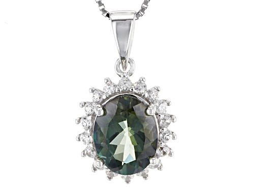 Photo of 1.95ct Oval Green Labradorite And .52ctw Round White Zircon Sterling Silver Pendant With Chain