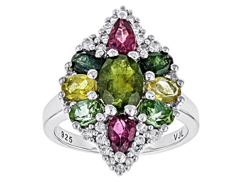 Photo of 2.37ctw Green, Pink, Yellow And Blue Tourmaline With .32ctw Round White Zircon Sterling Silver Ring - Size 12