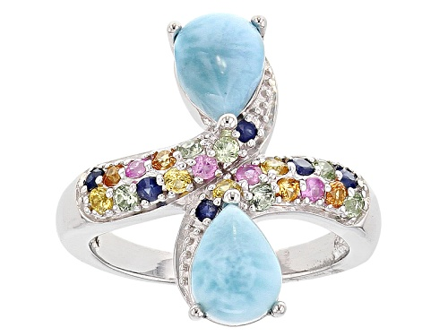 Photo of Pear Shape Cabochon Larimar With .74ctw Multi-Sapphire Sterling Silver Bypass Ring - Size 6