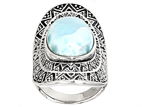 Photo of 16x11.5mm Oval Cabochon Larimar Sterling Silver Solitaire Ring - Size 5