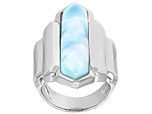 Photo of 30x6.5mm Fancy Shape Larimar Cabochon Sterling Silver Solitaire Ring - Size 12