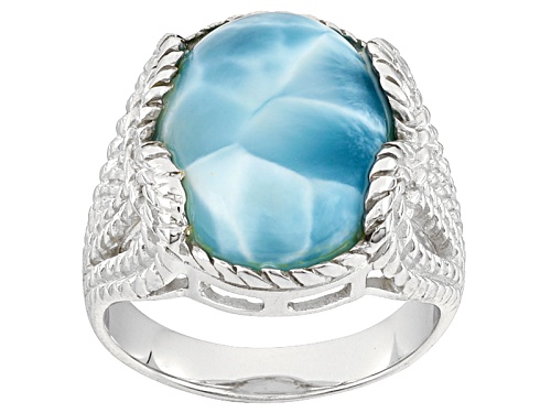 Photo of 16x12mm Oval Larimar Sterling Silver Solitaire Ring - Size 5