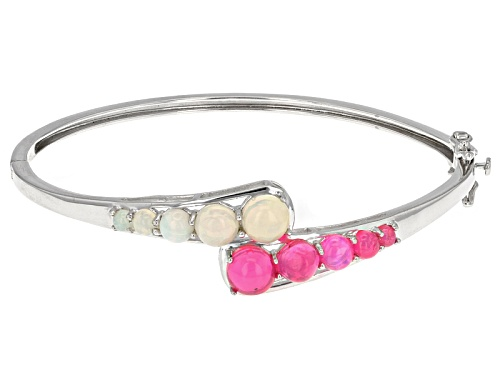 Photo of 2.19ctw Round Pink And 2.11ctw Round White Ethiopian Opal Sterling Silver Hinged Bangle Bracelet - Size 7.25