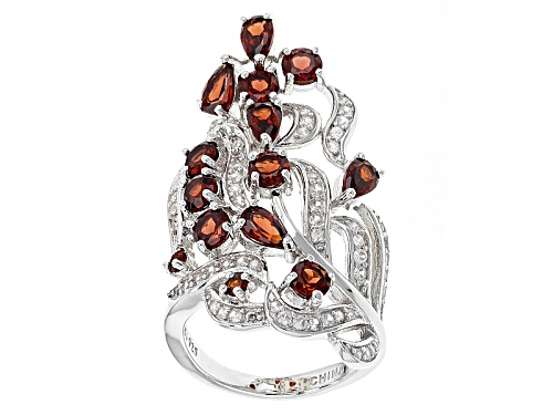 Photo of 2.82ctw Pear Shape And Round Vermelho Garnet™ With .41ctw White Zircon Silver Ring - Size 8