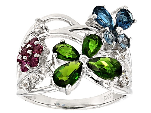 Photo of 2.16ctw London Blue Topaz, Russian Chrome Diopside, Raspberry Rhodolite And White Zircon Silver Ring - Size 6