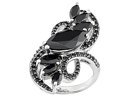 Photo of 5.26ctw Marquise And Round Black Spinel Sterling Silver Ring - Size 5