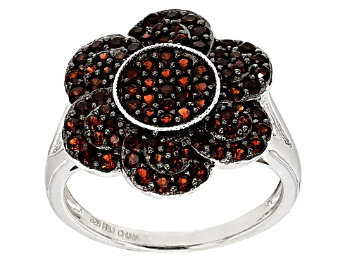 Photo of 1.29ctw Round Vermelho Garnet™ Sterling Silver Floral Ring - Size 8