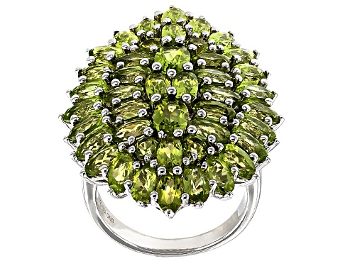 10.40ctw Oval And Round Manchurian Peridot™ Sterling Silver Cluster Ring - Size 5