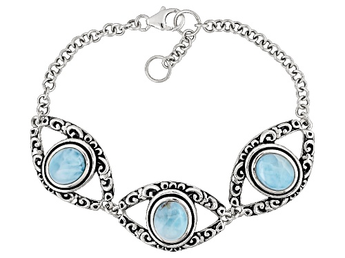 Photo of 10x8mm Oval Blue Cabochon Larimar Sterling Silver 3-Stone Bracelet - Size 8