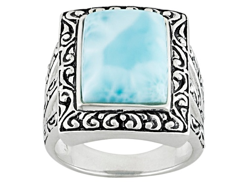 Photo of 14x10mm Rectangular Blue Larimar Sterling Silver Solitaire Ring - Size 8