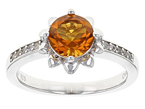 Photo of .85ct Round Madeira Citrine And .09ctw Round White Zircon Sterling Silver Ring - Size 11
