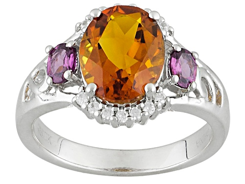 Photo of 1.70ct Oval Madeira Citrine With .35ctw Oval Rhodolite And .13ctw White Zircon Sterling Silver Ring - Size 11