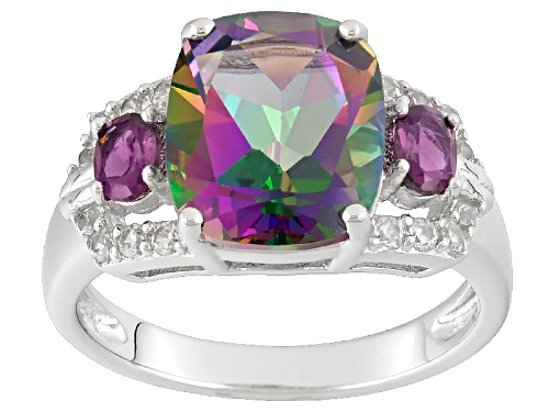 Photo of 4.40ct Multi-Color Green Topaz With .35ctw Raspberry Rhodolite And .27ctw White Zircon Silver Ring - Size 6