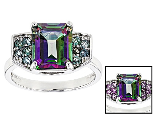 Photo of 3.30ct Emerald Cut Multi-Color Green Topaz With .32ctw Round Lab Created Alexandrite Silver Ring - Size 11