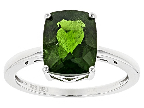 Photo of 3.22ct Cushion Russian Chrome Diopside Sterling Silver Solitaire Ring - Size 7
