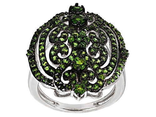 Photo of 1.78ctw Round Russian Chrome Diopside Sterling Silver Cluster Ring - Size 5