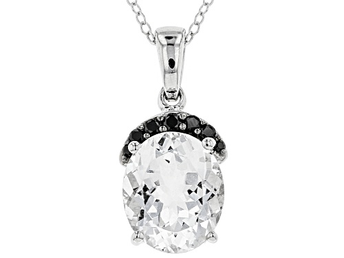 Photo of 3.51ct Oval Brazilian Goshenite With .14ctw Round Black Spinel Sterling Silver Pendant With Chain