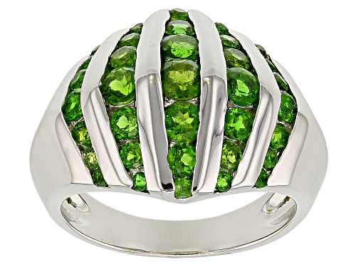 Photo of 1.51ctw Graduated 1.5mm - 3.5mm Round Russian Chrome Diopside Sterling Silver Dome Ring - Size 7