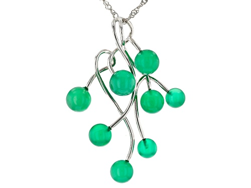 Photo of Round Ball Green Onyx Rhodium Over Sterling Silver Pendant With Chain