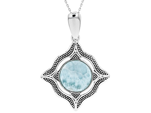 Photo of 14mm Round Cabochon Larimar Sterling Silver Solitaire Enhancer With Chain