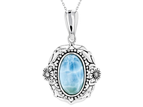 Photo of 17 X 10.5mm Oval Cabochon Larimar Sterling Silver Solitaire Enhancer With Chain