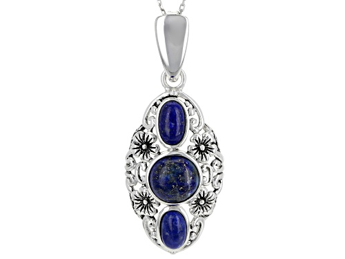 Photo of 8.5mm Round & 7.5x4.5mm Oval Cabochon Lapis Lazuli Sterling Silver 3-Stone Enhancer With Chain