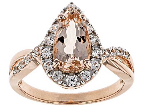 Photo of 1.19CT PEAR SHAPE MORGANITE WITH .60CTW ROUND WHITE ZIRCON 18K ROSE GOLD OVER STERLING SILVER RING - Size 11