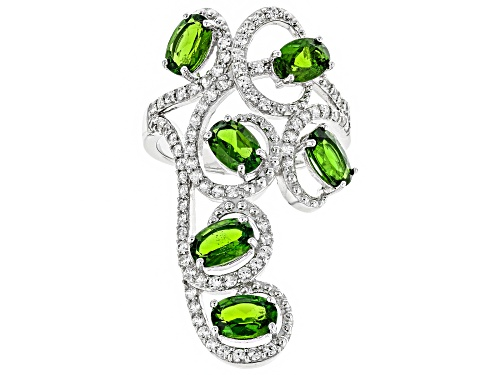 Photo of 2.55ctw Oval Russian Chrome Diopside With .82ctw Round White Zircon Sterling Silver Ring - Size 6