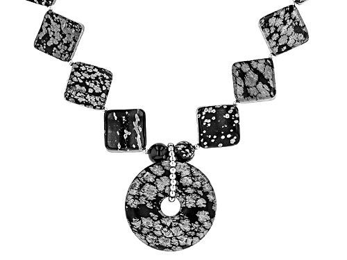 Photo of 8mm Round, 16mm Fancy Square & 35mm Donut Shape Snowflake Obsidian Sterling Silver Necklace - Size 21