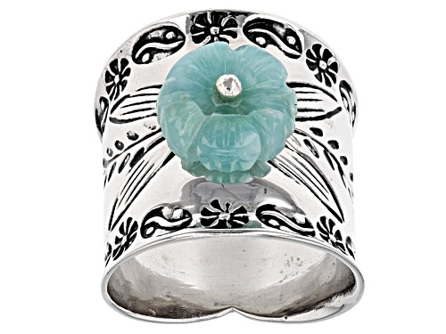 Photo of 10mm Carved Larimar Flower Sterling Silver Band Ring - Size 8