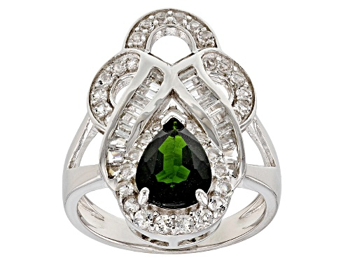 Photo of 1.70CT PEAR SHAPE RUSSIAN CHROME DIOPSIDE WITH 1.31CTW WHITE TOPAZ STERLING SILVER RING - Size 8