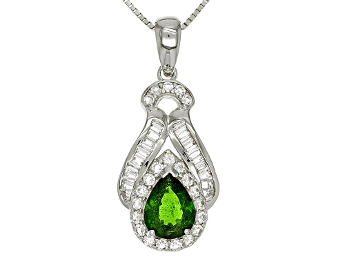 Photo of 1.70CT PEAR SHAPE RUSSIAN CHROME DIOPSIDE WITH 1.29CTW TOPAZ STERLING SILVER PENDANT WITH CHAIN