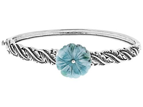 Photo of 19mm Carved Larimar flower Sterling Silver Leaf design hinged Bangle Bracelet - Size 8